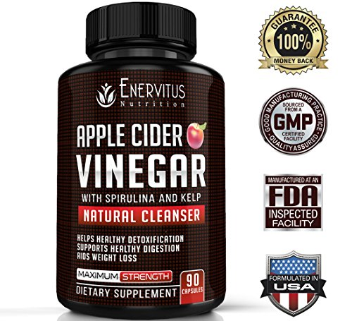 (Super Strength Apple Cider Vinegar Pills - 90 Capsules with Spirulina, Kelp, Bromelain, Pectin and B6 -Powerful Natural Detoxifier, Promotes Healthy Digestion and Weight Loss, Fights Inflammation.)