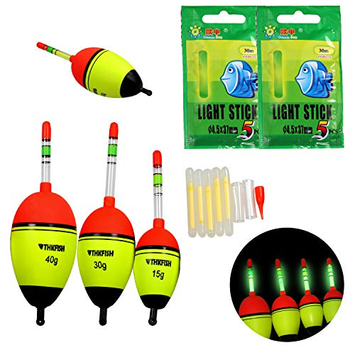 thkfish Fishing Floats, 5Pcs 5g Foam Freshwater Saltwater Luminious Lighting EVA Foam Fishing Floats Crappie Fishing Floats Bobber Slip Tube Kit with 10pcs Glow Sticks ()