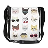 Glasses Model Cat Men Wowen Outdoor Messenger Bag School Bag Crossbody Shoulder Bag-Black