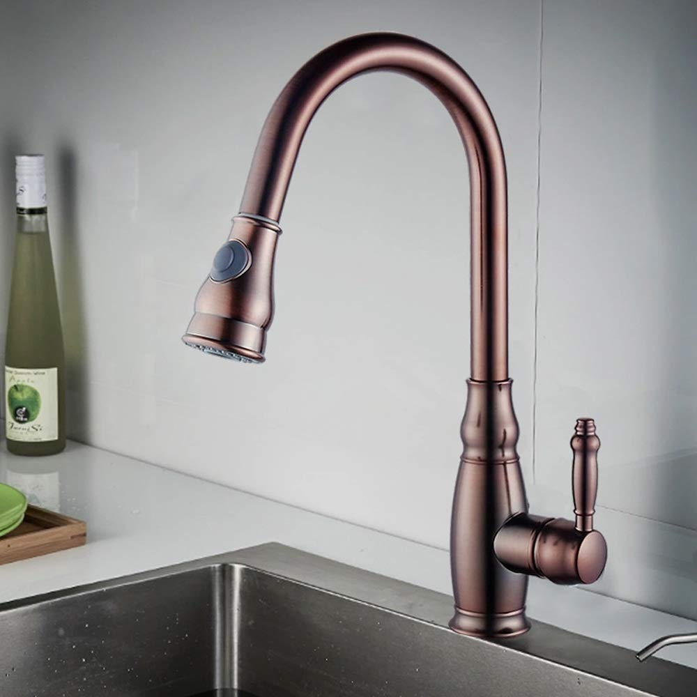 Orp Vinteen All Copper Kitchen Faucet Multifunction Sink Washing Pool Pump Pull Faucet redate Hot And Cold Shower Water Column Double Outlet One-button Control Tap (color   ORP)