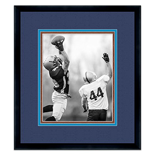 Tennessee Titans Black Wood Frame for a 5x7 Photo with a Triple Mat - Navy , Titans Blue , and Football Textured Mats