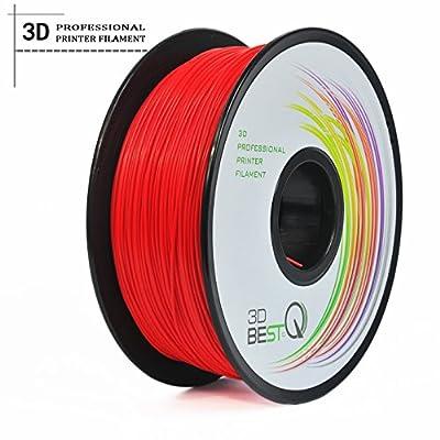 3D BEST-Q 3mm PLA 3D Printer Filament 1KG Spool (2.2lbs), Actual Diameter 2.85mm +/- 0.05mm, red