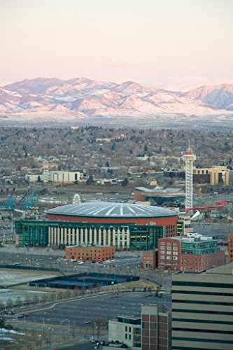 Pepsi Center Denver Skyline Mountains Background Photo Art Print Poster