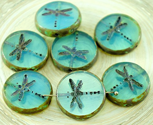 Glass Beads Dragonfly (4pcs Picasso Blue Opal Rustic Window Dragonfly Table Cut Flat Coin Round Czech Glass Beads 17mm)