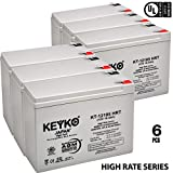12V 10Ah / REAL 10.5 Amp Deep Cycle - 6 Pack -Battery AGM / SLA Designed for Wheelchairs Scooters & Mobility - Genuine KEYKO - F2 Terminal