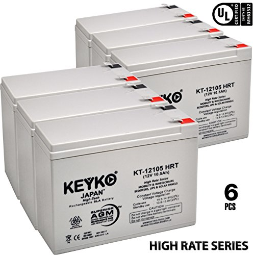 12V 10Ah / REAL 10.5 Amp Deep Cycle - 6 Pack -Battery AGM / SLA Designed for Wheelchairs Scooters & Mobility - Genuine KEYKO - F2 Terminal by KEYKO (Image #7)