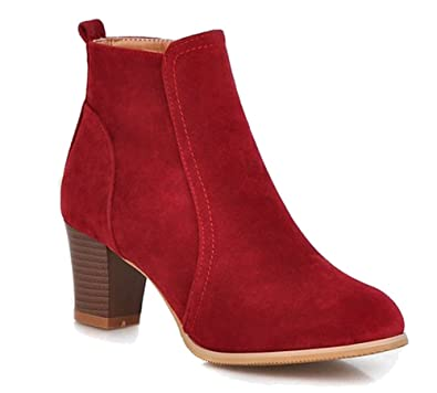 98d99e0a44f HiTime Ladies Comfortable Suede Leather Ankle Boots Zip Mid Block Heels  Office Short Boots (4.5