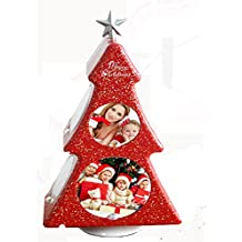 Fashion Rotating Christmas tree Photo Frame Box --- BGOING Creative Rotate DIY Table Tabletop Picture Frames for Christmas Wedding Birthday Party Photography (Festive red)