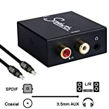 Snxiwth Digital to Analog Converter, Digital Optical Coaxial Input to Analog RCA and AUX 3.5mm (Headphone) Audio Conversion Adapter,With Cable.
