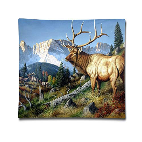 (Kjaoi 1818 Inches Pillow Case Wild Deer with Long Horn Comfortable Soft Bed Pillow Case Household Pillow Case Office)