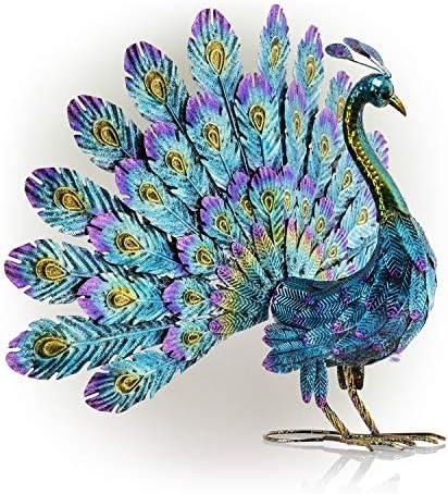 Alpine Corporation JUM232 Metal Peacock Outdoor Statue