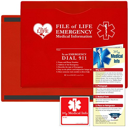StoreSMART - Vial/File of Life: Medical Info Pocket - Letter Size - Magnetic Back - 5-Pack - Red - VOLFJ85PQRM by STORE SMART