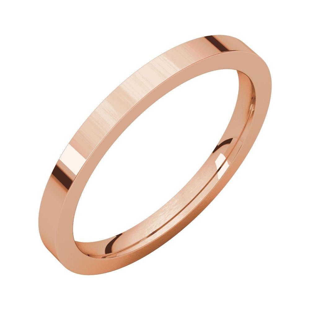 Size 13 Bonyak Jewelry 10k Rose Gold 2 mm Flat Comfort-Fit Band