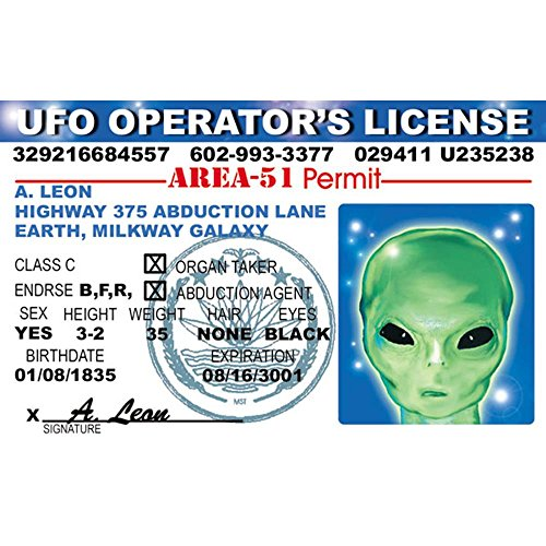Signs 4 Fun Niid Alien Ufo's Driver's License