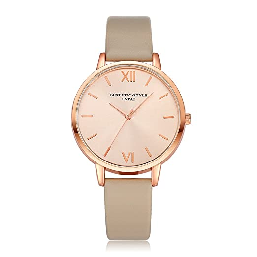 ac59c9a9d Image Unavailable. Image not available for. Color: Loweryeah PU khaki Leather  Strap Rose Gold Watch Ladies Watch
