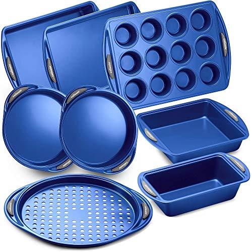 Caliente Nonstick Bakeware Set of 8 | Premium Baking Sheets, Loaf & Bread Baking Pans, Pizza, Roasting & Cake Pans…