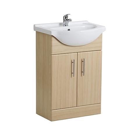 Trueshopping 550mm Bathroom Furniture Beech Vanity Unit Sink Basin ...