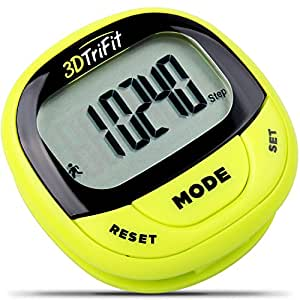 3DTriFit 3D Pedometer Activity Tracker | Best Pedometer for Walking with 7-Day Memory & Pause for Men & Women. Fitness Tracker Accurately Tracks Steps, Calories Burned, Distance & Speed (Lime)
