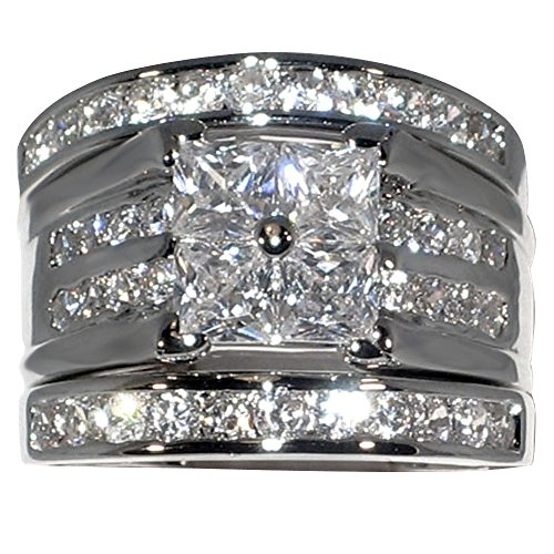 Contemporary 2.86 Ct. Cubic Zirconia Cz 3 Pc. Engagement Bridal Wedding Ring Set (7.5) Contemporary Ring Settings