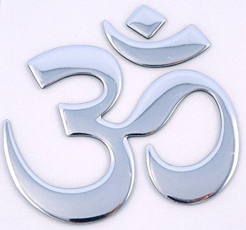 Aum Om Yoga chrome finish decal emblem