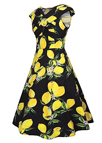 Ruiyige - Vestido - para mujer Mancherons-Impression Citron Noir