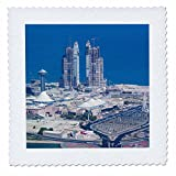 3dRose Danita Delimont - Cities - UAE, Abu Dhabi. Marina Village and Arabian Gulf, aerial view - 22x22 inch quilt square (qs_277130_9)