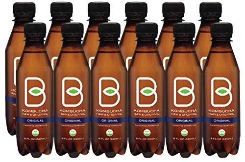 B-tea Raw Organic Kombucha Probiotic Original Black Tea Bottled 8 oz 12-pack