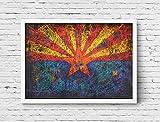 Arizona Flag, Hand-Painted Flag of Arizona, Distressed Flag, Vintage Mixed Media Art, Rustic, Industrial Style, Flag Painting