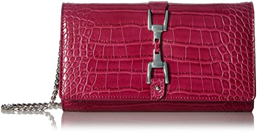 Gigi Croco Wallet, Fuchsia Crocodile, One Size