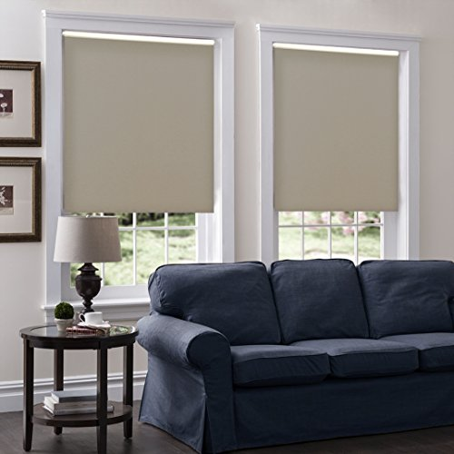 Cordless Roller Shades, Any Size 19-96 Wide, 26W x 36H, Serena Light Filtering/Room Darkening Dove