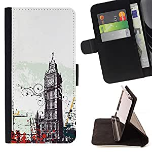 BullDog Case - FOR/Samsung Galaxy A3 / - / big ben city london england symbol art /- Monedero de cuero de la PU Llevar cubierta de la caja con el ID Credit Card Slots Flip funda de cuer