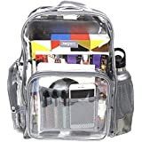Heavy Duty Clear Backpack Durable Military Nylon - Transparent for School, Security, Stadiums (Medium, Gray)