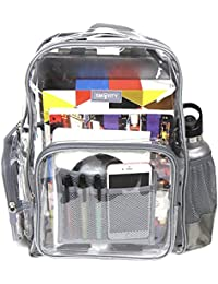 Heavy Duty Clear Backpack Durable Military Nylon - Transparent for School, Security