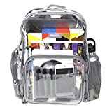 Heavy Duty Clear Backpack Durable Military Nylon - Transparent for School, Security (Medium, Grey)