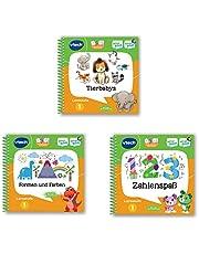 Vtech 80-488904 MagiBook-leerboek-bundel: 3 boeken van leerniveau 1 (dierbaby's 3D, vormen en kleuren 3D, cijferplezier 3D), leerboek, meerkleurig