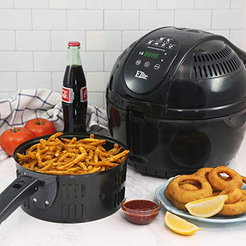 Elite Platinum EAF-1506D Electric Digital Hot Air Fryer Oil-less Cooker, 6 in 1 Cooking Functions, Adjustable Time Temperature, PFOA PTFE Free, 1400-Watts with 26 Recipe Cookbook, 3.5 Quart, Black
