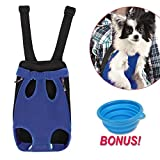 Dog Carrier   Comfortable Legs Out Front Dog Carrier Backpack Include Feeding Bowl   Travel Dog Cat Pet Bag for Travel Cycling with Adjustable Shoulder Strap and Inner Collar   Vibrant Blue M