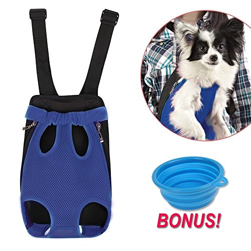 Dog Carrier | Comfortable Legs Out Front Dog Carrier Backpack | Travel Dog Cat Pet Bag for Travel Cycling with Adjustable Shoulder Strap and Inner Collar | Vibrant Blue, XL