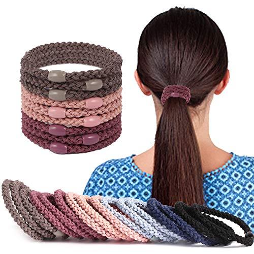 Nylon String Coated Elastic Hair Band Ponytail Holder 2Pcs White Purple