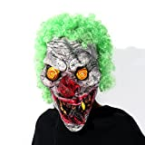 Hyaline&Dora Halloween Latex Clown Mask With Hair for Adults,Halloween Costume Party Props Masks (yellow eye)