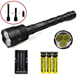 Super Bright 3600 Lumens 3 x XM-L T6 LED Flashlight Torch with 3 x 18650 battery