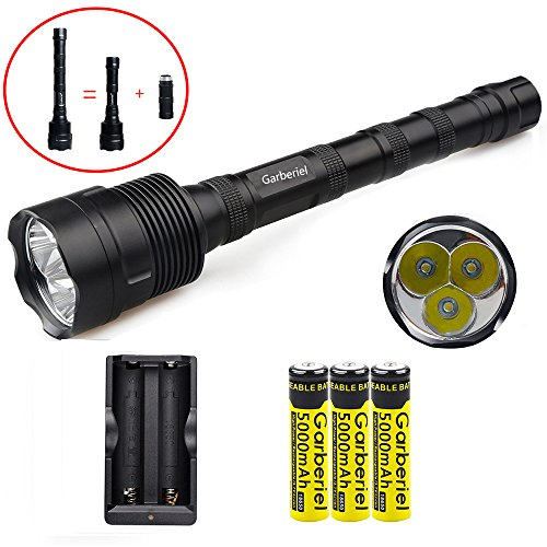 Super Bright 3600 Lumens 3 x XM-L T6 LED Flashlight Torch with 3 x 18650 battery by WishDeal