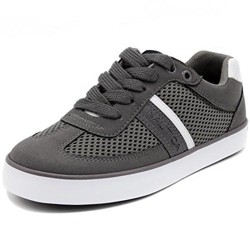Nautica Kids Gilford Sneaker-Lace up Fashion Shoe,Gray,4 M U
