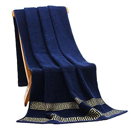 Generic azul, 1bath 2hand 2 cara, Federación de Rusia: 32 * 72/70 * 140 cm bordado algodón Toallas de baño para adultos, elegante baño de playa toallas de ...
