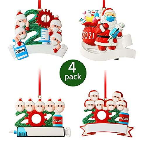 2021 Weihnachtsschmuck, 4PCS DIY Personalisierte Überlebende Familie 3D Harz Weihnachten Anhänger Weihnachten Deko Schneemann Weihnachtsbaum Hängen Anhänger Für Weihnachtsbaum Deko(Family 1, 4, 5, 6)