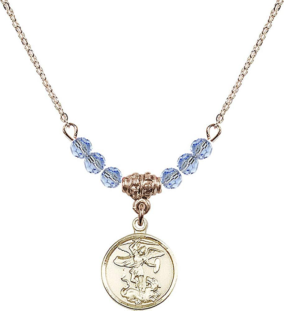 18-Inch Hamilton Gold Plated Necklace with 4mm Light Sapphire Birthstone Beads and Saint Michael the Archangel Charm Patron Saint of Police Officers//EMTs