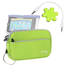 DURAGADGET Vtech InnoTab Max 7 Tablet Case - Lime Green Neoprene Zipped Pouch With Front Storage Compartment For Vtech InnoTab Max 7 + BONUS Headphone Splitter!