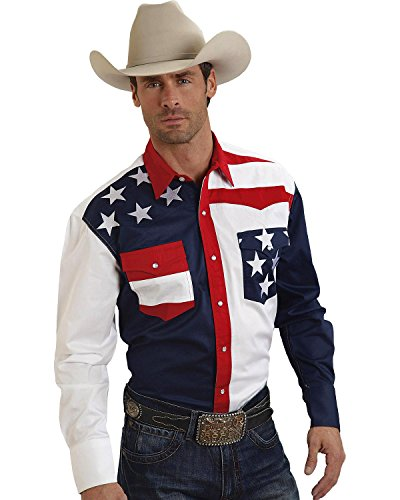 Roper Men's Americana Collection Stars and Stripes Western Shirt Patriotic Small (Roper Stars)