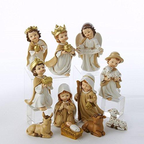 Kurt Adler 11-Piece Polyester Infant Nativity Tablepiece Set, 4-Inch