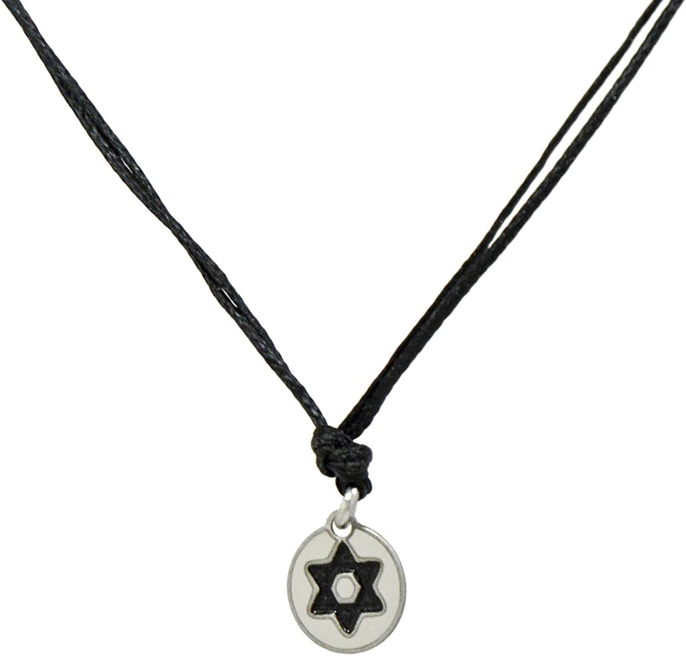 Faux Double Suede Cord Choker Necklace with Silver Tone Ring Pendant 8C